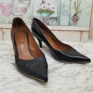 Givenchy pointy toe black leather heels gold trim
